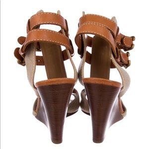 Chloe Shoes - Chloe leather trimmed peep toe wedges